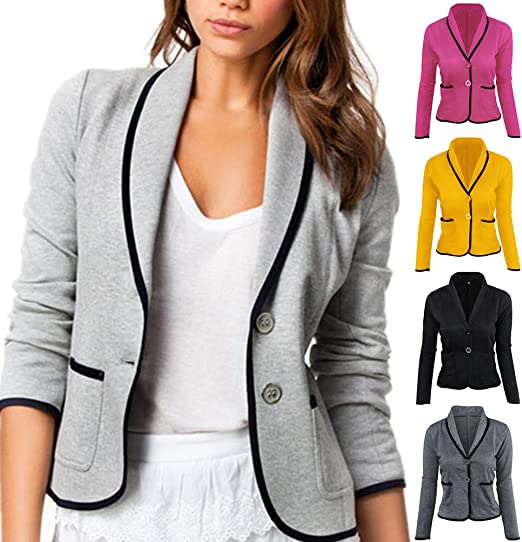 Mfasica Women Skinny Double Button Office Fashion Blazer Long Pants Set