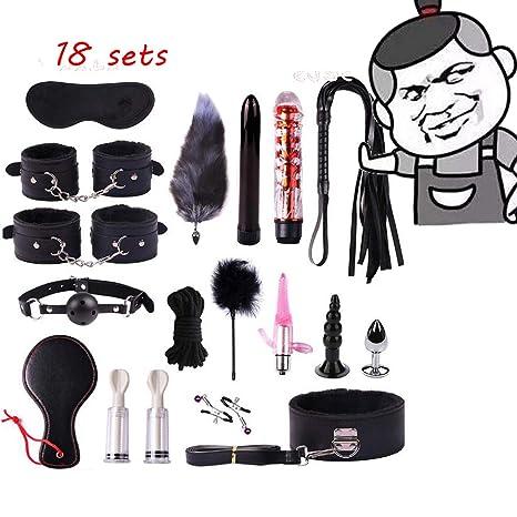 Amazon.com: Black 18 in 1 Leather New Plush Set Toy Yoga ...