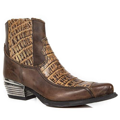 New Rock M.WST054-S2 Botas Botines Hombre Caballero Marrón Cocodrilo Real Cuero Piel Tacón Elegante Moda Oeste Vaquero Western: Amazon.es: Zapatos y ...