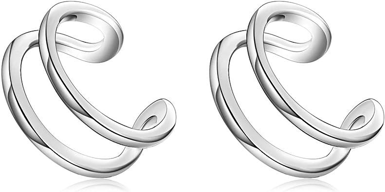 New Retro Genuine s925 Sterling Silver Round Hoop Earring Clip Bead Minimalist