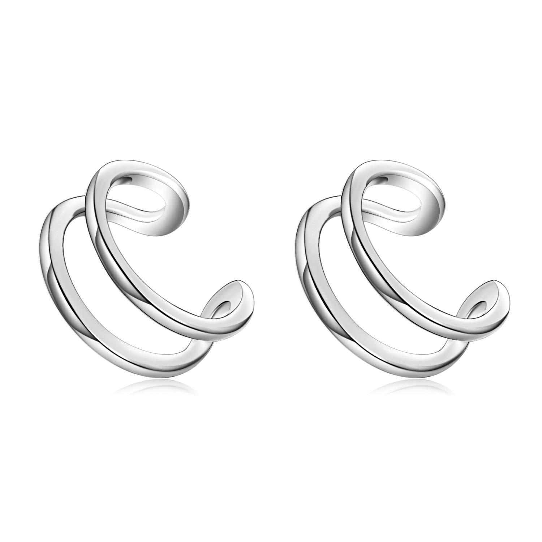 YFN Sterling Silver Ear Cuff Wrap Clip Earrings Non Pierced Cartilage Clip Earrings for Women Girls