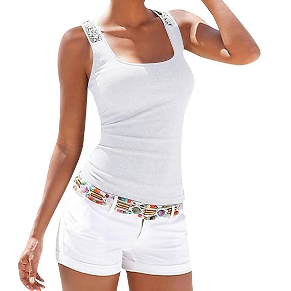 Mujeres Tops Rovinci Chaleco sin mangas de lentejuelas de talla grande Tops camiseta de la blusa