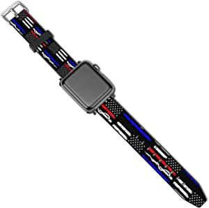 SWEET TANG Men Women American Thin Red Blue Line Police Firefighter EMT Flag Apple Watch Band 38mm/40mm, 42mm/44mm, Adjustable Stretchy Watch Bands Sport Bands, PU Replacement Strap with Clasps