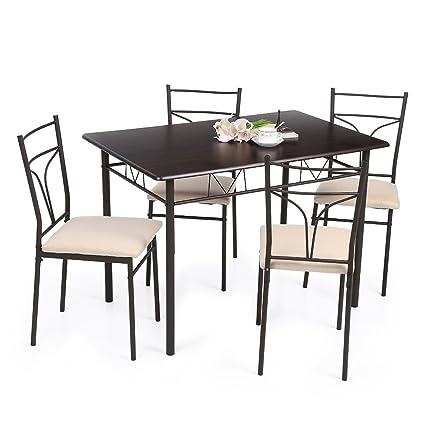 IKAYAA 5PCS Moderna Metallo Sedie Tavolo Cornice Pranzo Cucina Set per 4  Persona Mobili 120kg capacità di Carico