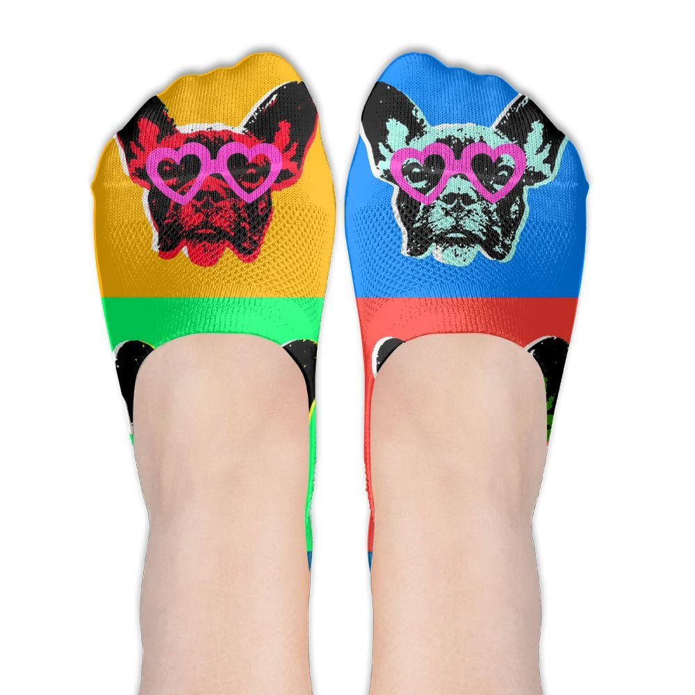 French Bulldog Pop With Sunglasses Women No-Show Socks Funny Novelty Low Cut Liner Socks