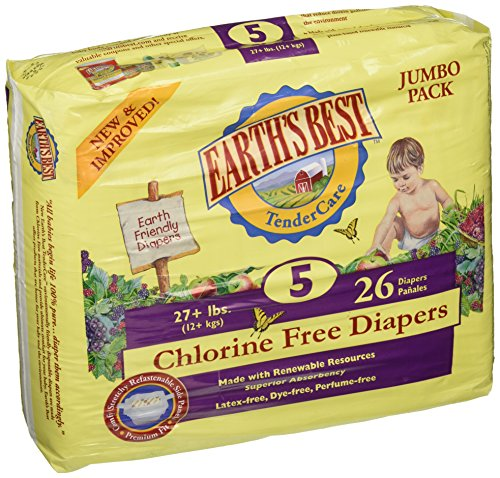 Earths Best Chlorine Free Babys Diaper - Size 5 - 26 per pack -- 4 packs per case. by Earth's Best