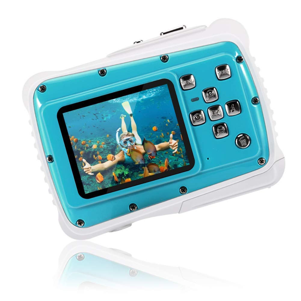 Kids Waterproof Camera 21MP HD 1080P Video Recorder Camcorder Waterproof Digital Camera for Children 2.0'' LCD Display 8X Digital Zoom Floating Wrist Strap 32GB SD Card Underwater Camera for Snorkeling