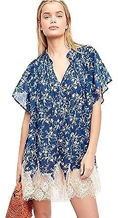 9a562fde31e4 Free People Marigold Lace-Hem Printed Dress Navy (S) at Amazon ...