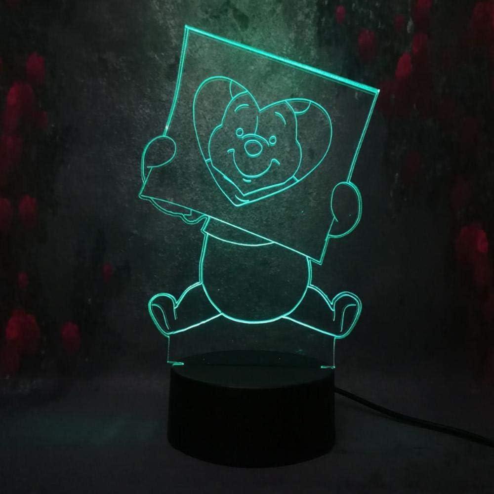 Creativo lindo animal 3D luz de noche LED lámpara de escritorio USB 7 color táctil taxi luz juguete para niños regalo de Navidad q110
