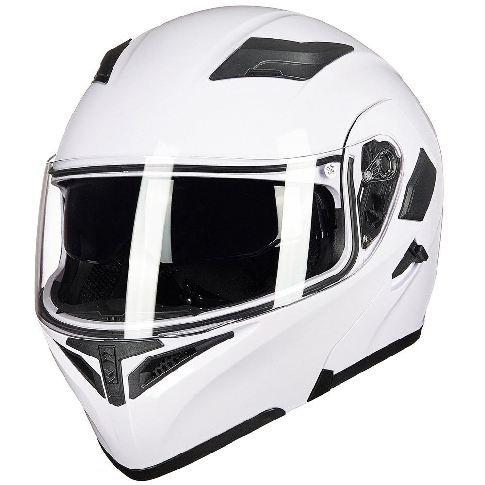 S, YELLOW ILM Motorcycle Dual Visor Flip up Modular Full Face Helmet DOT with 7 Colors