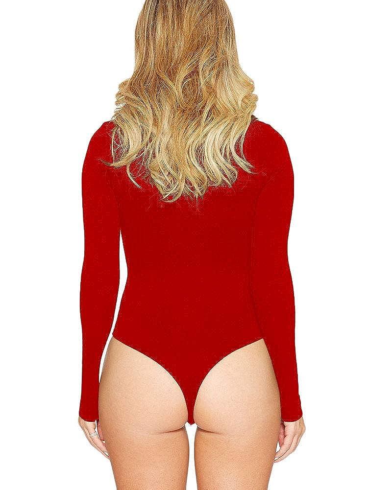 TaiFE Donna Body Manica Lunga con Zip Frontale Top Tuta Bodysuit Leotard Bodycon Rompers Camicia Festa Spiaggia