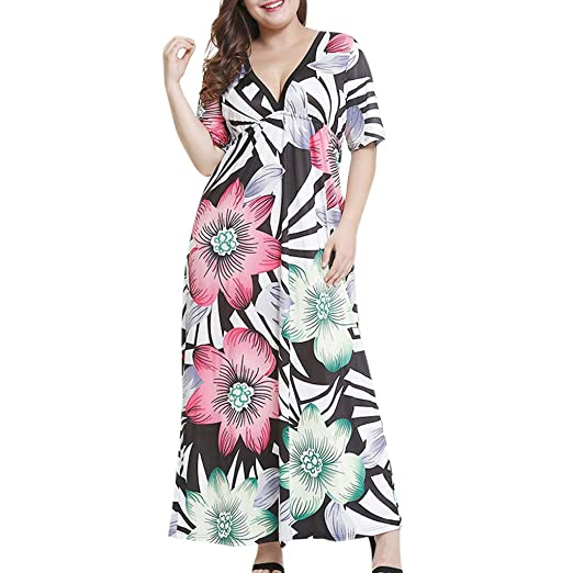 73d5844fd8 Women Plus Size Full Cover Maxi Dress V Neck High Waist Midi Dress Summer  Vacation at Amazon Women s Clothing store