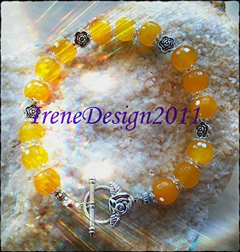 Yellow Jade & Rose Bracelet