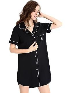 479a3ec726 N NORA TWIPS Womens Nightshirt Short Sleeves Pajama Boyfriend Shirt Dress  Nightie Sleepwear PJ