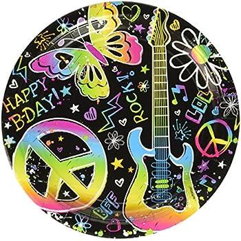 Amazon.com: Amscan – Groovy Neon Doodle Almuerzo Fiesta de ...