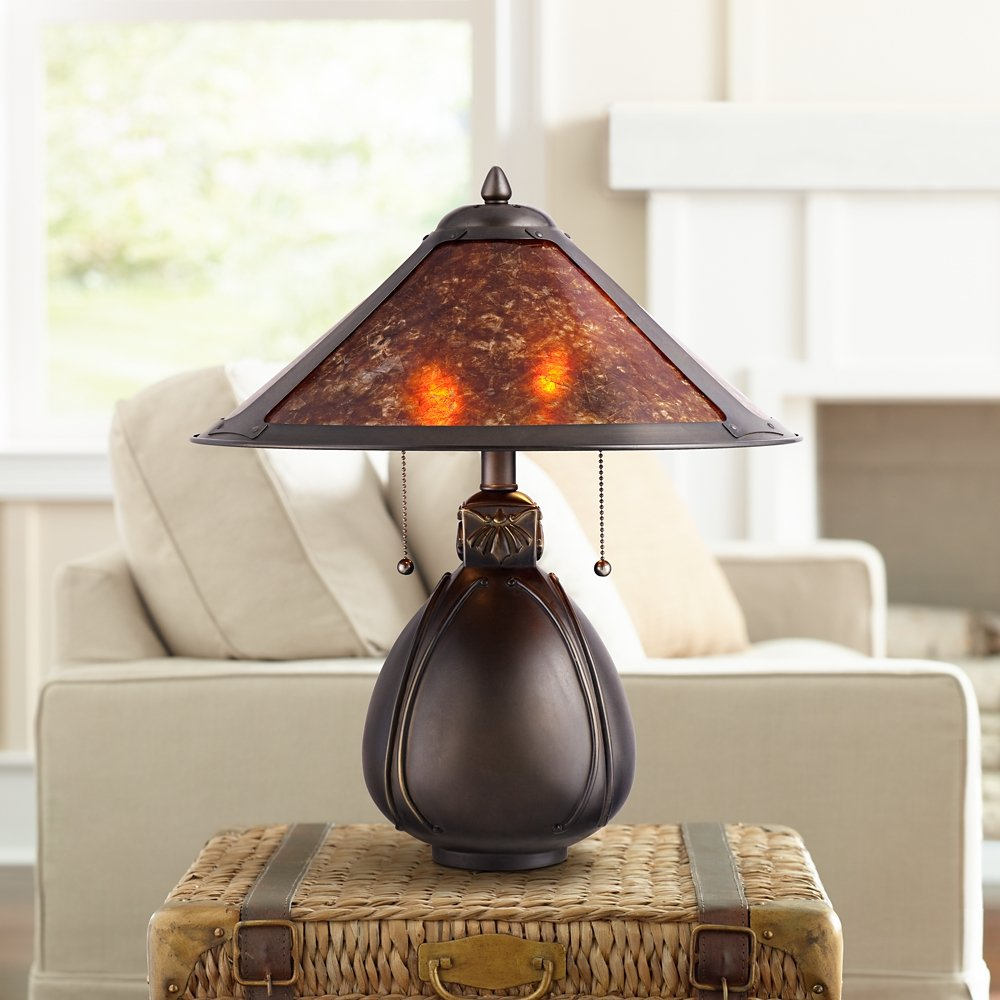 Nell arts and crafts pottery mica shade table lamp amazon mozeypictures Image collections