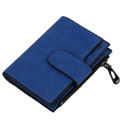 SMARTLADY Matte Mini Billetera Plegada Moda Portátil Monedero de Cuero PU Cartera para Mujer (Azul)