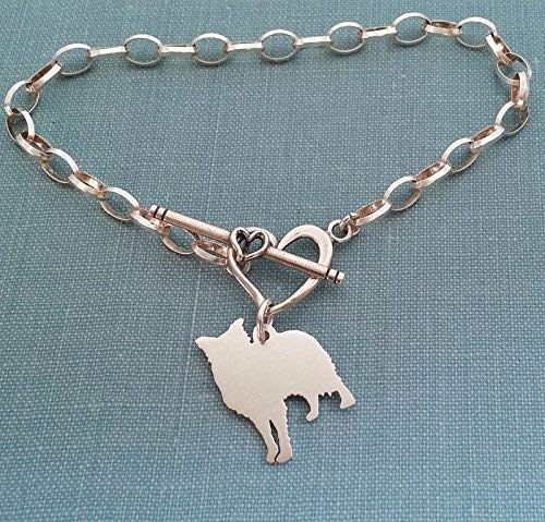 - .925 Sterling Border Collie Dog Chain Bracelet with Heart Toggle Your Pet Memorial Jewelry