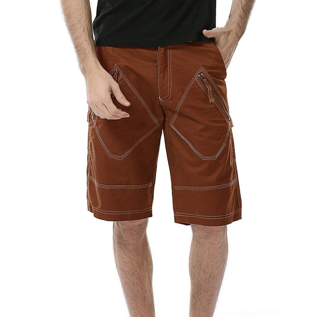 iZHH Men's Casual Causal Pocket Beach Work Short Trouser Cargo Shorts Pant(Khaki,29)