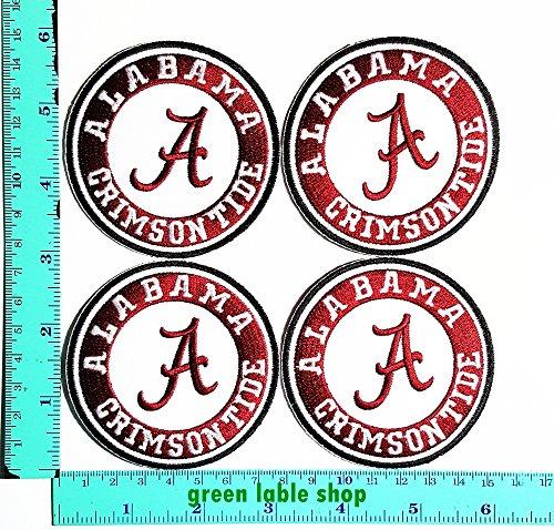 Alabama Crimson Tide Applique (4 Pieces Alabama Crimson Tide Team Patch Logo Sew Iron on Embroidered Appliques Badge Sign Costume)