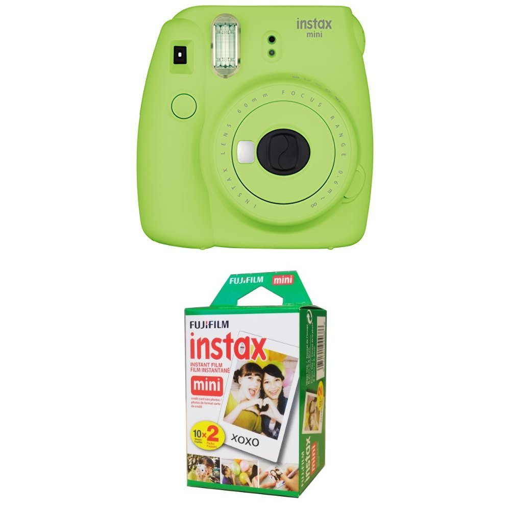 Fujifilm Instax Mini 9 Instant Camera - Lime Green with Twin Pack