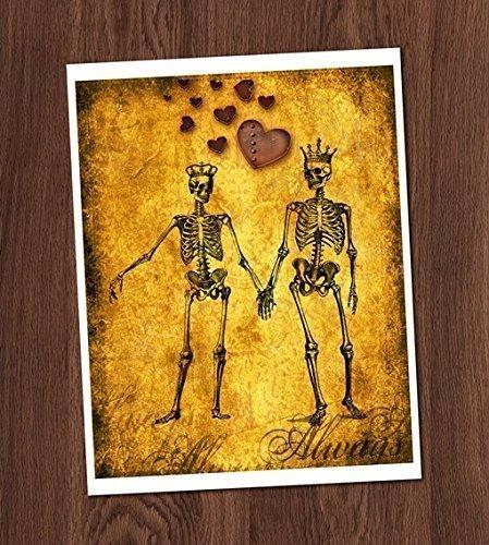 Skeleton Couple Art Print Lovers Eternal Love Steampunk