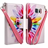 Samsung Galaxy S6 Edge Case - Wydan (TM) Credit Card Wallet Style Case Cover For Samsung Galaxy S6 Edge - Colorful Flower w/ Wydan Stylus Pen