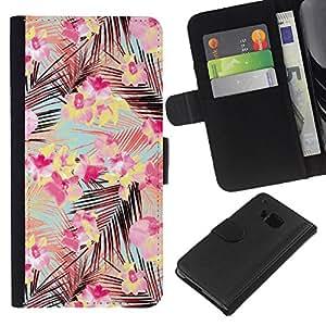 iBinBang / Flip Funda de Cuero Case Cover - Rosa Ramos deja el modelo del trullo Flores - HTC ONE M7