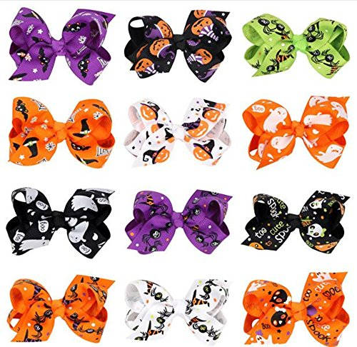 Halloween Hair (Hixixi 12pcs/pack Halloween Bowknot Hair Clips Hair bows Accessories for Kids Baby Girls (Halloween)