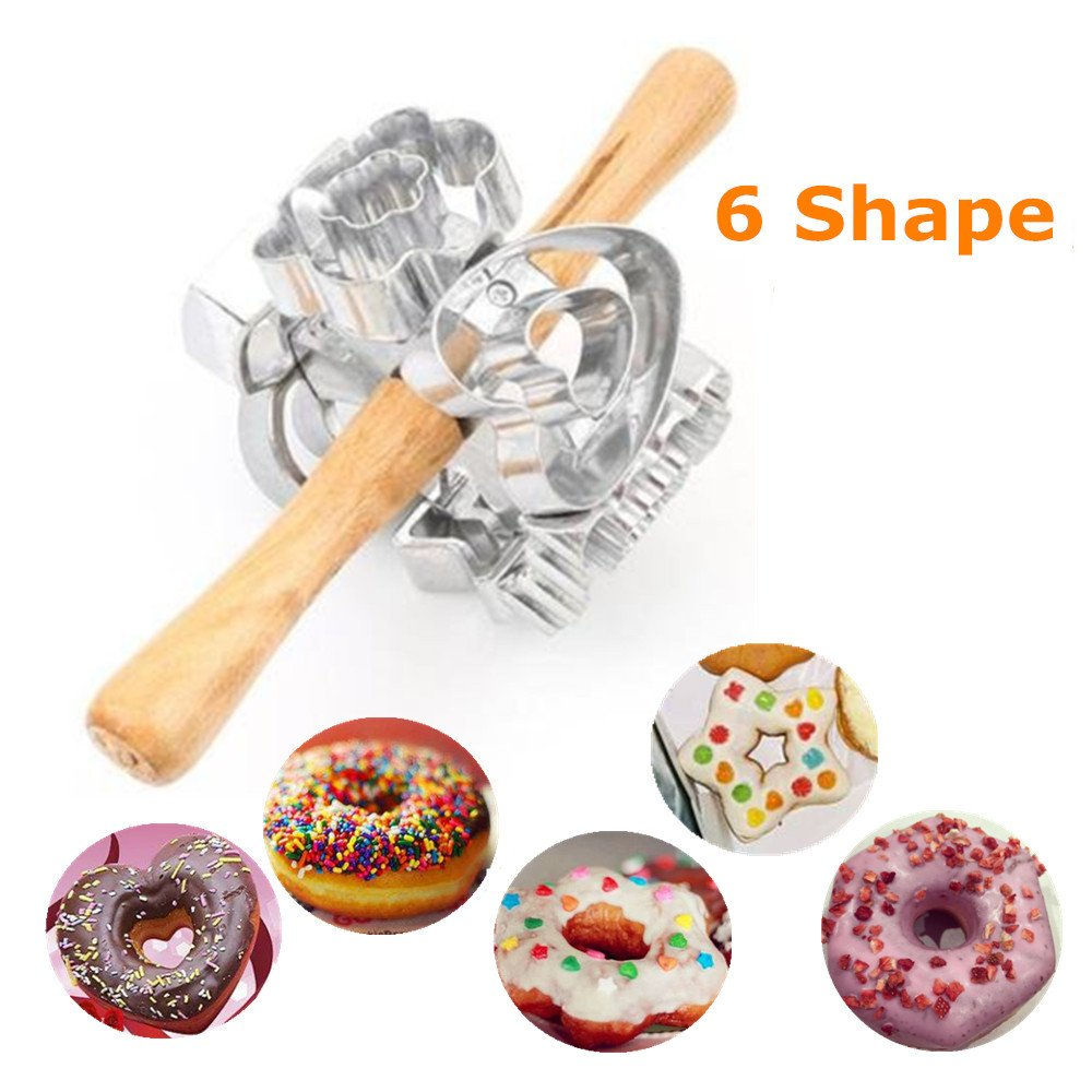FashionMall Metal Revolving Donut Cutter Maker Machine Mold Pastry Dough Baking Roller For Cooking Baking (Aluminum2)
