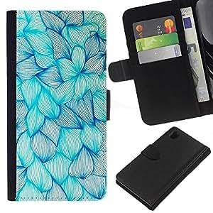 Planetar® Modelo colorido cuero carpeta tirón caso cubierta piel Holster Funda protección Sony Xperia Z1 L39 ( Floral Blue Ink Flowers Drawing Art Sketch )
