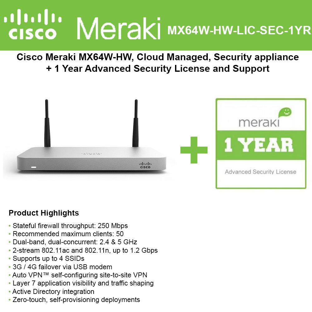 Cisco Meraki Mx64w Wireless Firewall Security Appliance Vpn Diagram Bundle 200mbps Fw 5xgbe Ports Includes 1 Year Advanced Lice Computers