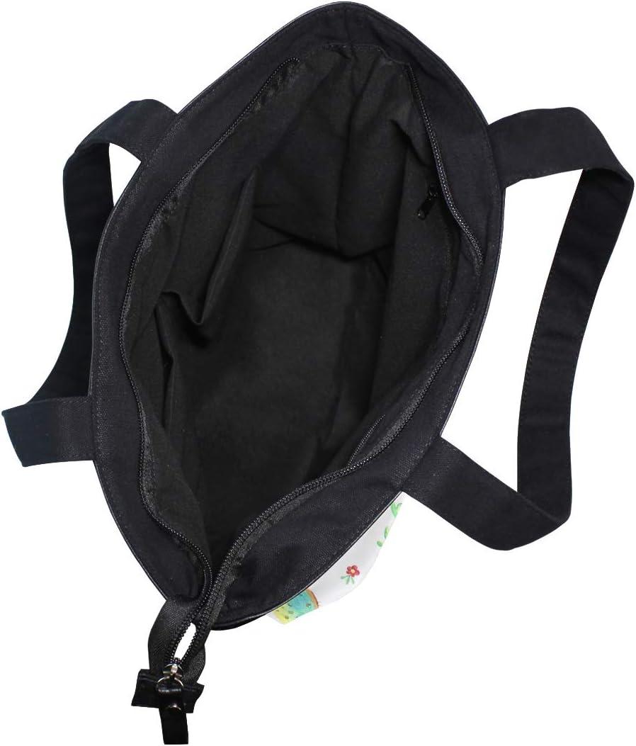 Skull And Roses Cactus Canvas Tote Bag,Fashion Large Capacity Handbag for Women Travel