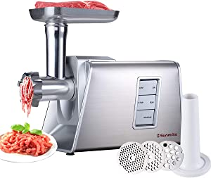 Sunmile SM-G73 Heavy Duty Electric Meat Grinder and Sausage Stuffer Maker 1000W Max with Stainless Steel Cutting Blade and 3 Cutting Plates and 1 Big Sausage Stuff, ETL Certificated (White)