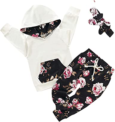 Newborn Infant Baby Girls Long Sleeve Solid Tops Hoodie Sweatshirt+Strappy Floral Pants+Headwear Autumn Outfit