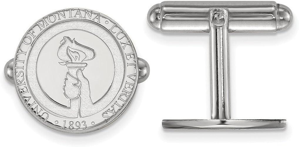 925 Sterling Silver Rhodium-plated Laser-cut Montana State University Medium Crest Pendant