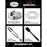 TableTop Chefs Grillerette Pro -The Smartest Portable BBQ Grill - Lid & Accessories Kit
