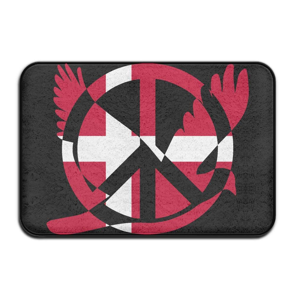 Denmark Flag Peace Sign Symbol Indoor Outdoor Entrance Rug Non Slip Tub Mat Doormat Rugs Home