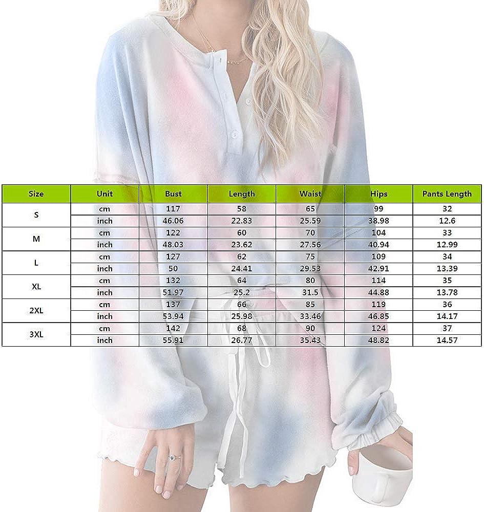MoneRffi Women Pajamas Set Tie Dye Print Long Sleeve Tops and Shorts Sleepwear Loungewear