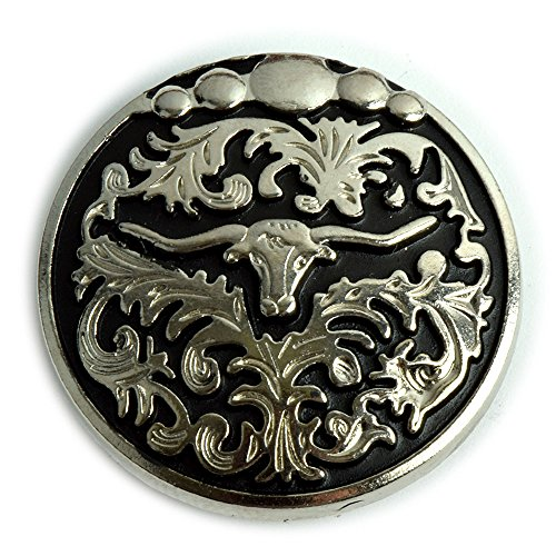 Western Longhorn Conchos with an Antique Nickel and Black Enamel Finish.