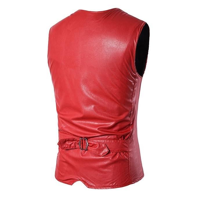 76b1b04c6fa5 Hibote PU-Leder-Westen für Männer Slim Fit PU-Leder Herren Anzug Weste  beiläufiges Sleeveless Formale Geschäfts-Jacke Rot 2XL  Amazon.de   Bekleidung
