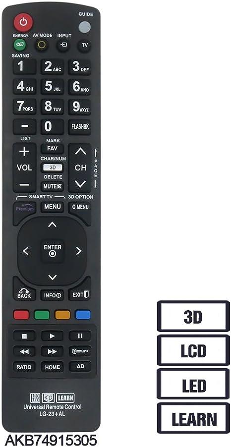 gvirtue mando a distancia de repuesto para LG akb73715608 mando a distancia 3d lcd led hdtv, Fit para LG TV 32lh500b 39LN5300 42LN5200 43lh5000 47ln5200 50ln5200: Amazon.es: Electrónica
