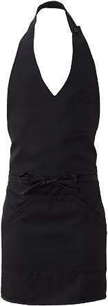 Grembiule gessato nero lungo con pettorina da cameriere servizio sala