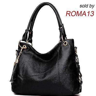 Women s Tote Shoulder Bag Handbag Purses Satchel Shoulder Bags Handle Bag  Leather tassel (black) 26a69ef7a92c2