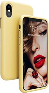 JASBON Case for iPhone Xs Max, Liquid Silicone Shockproof Phone Cover with Precise Cutouts for iPhone Xs Max 6.5 inch-Yellow