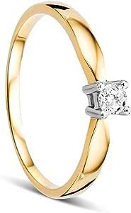 Anillo de compromiso de mujer Orovi, de oro con diamante de 14 quilates (585). Anillo de oro blanco y amarillo brillante de 0,10 crt con diamantes