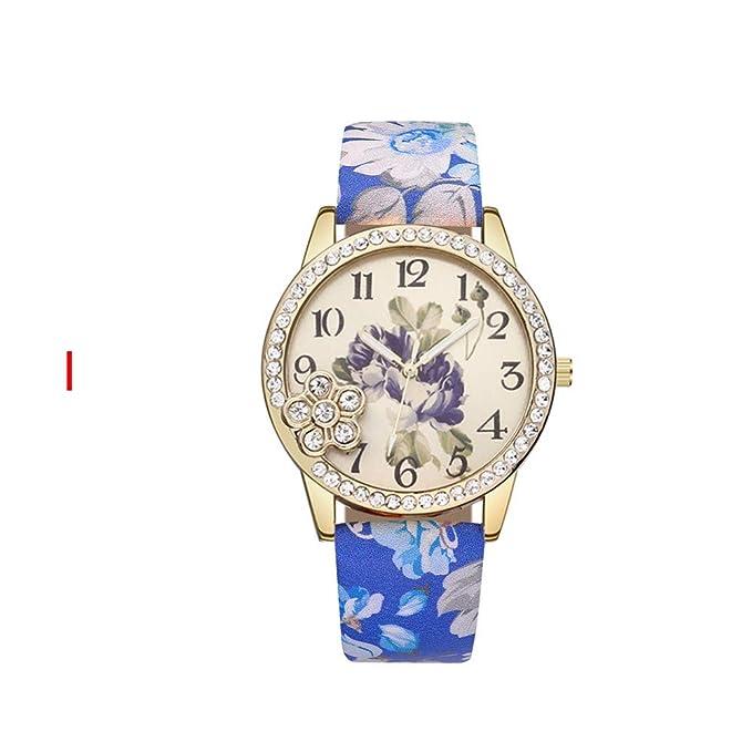 DressLksnf_Reloj Original Moda de Mujer Pulsera Banda de Cuero Reloj Cadena Ajuste Elegante Simple Acero Inoxidable Durable Digital Clásico Estampado ...