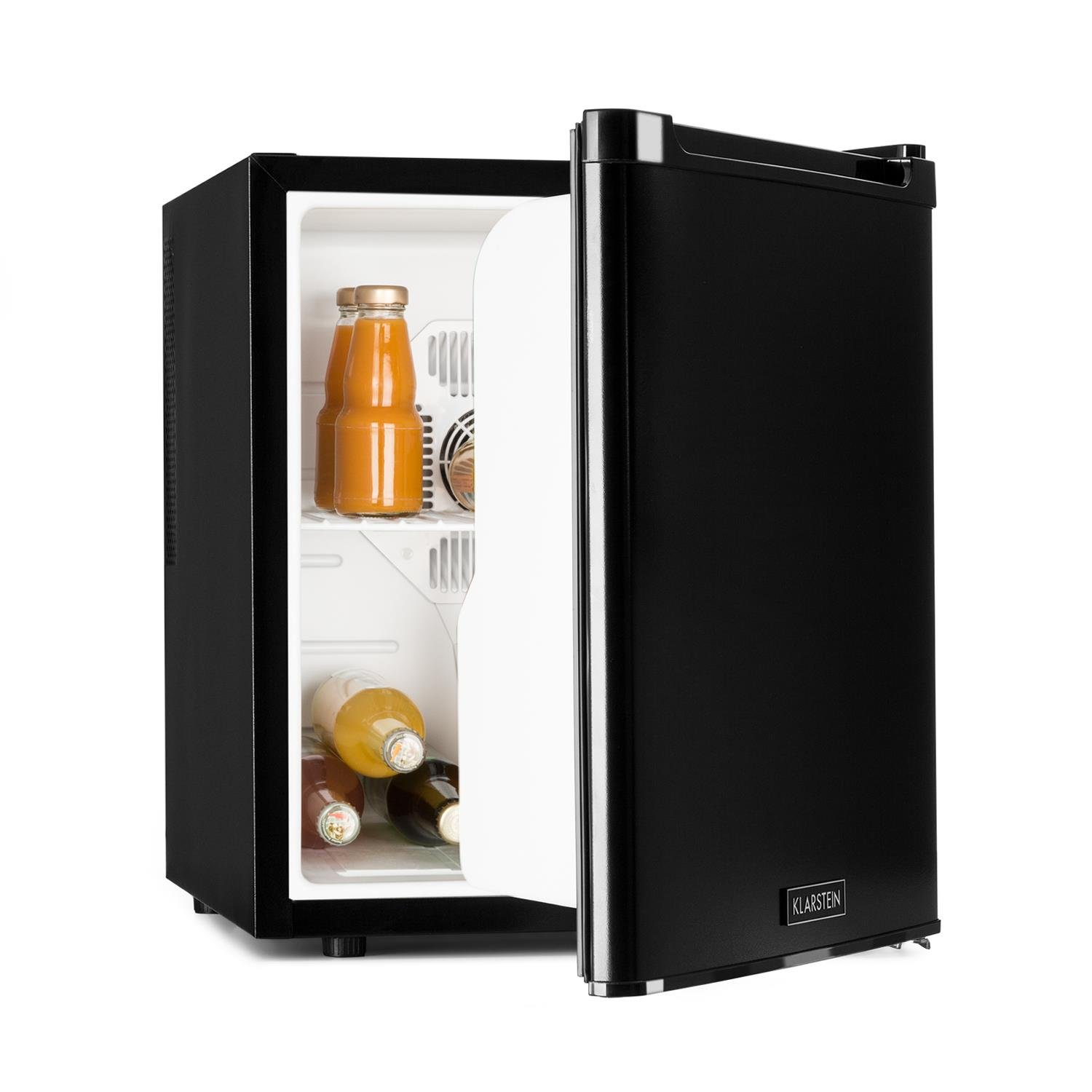 Klarstein CoolTour Beverage Refrigerator Drinks Cooler 48 Litres 70W 5-12 ° C 35dB Possibility of Operation in the Car White Interior Light Door Open Direction Chargeable Practical Black