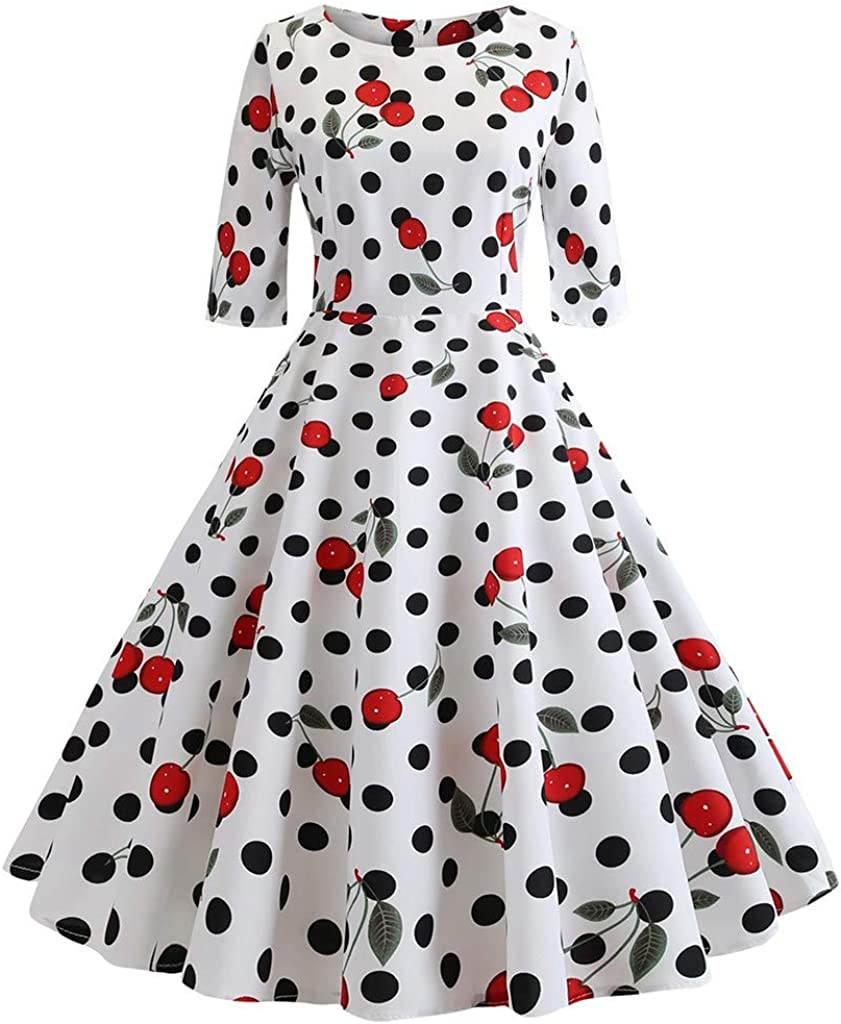 MISYAA Womens Vintage Dresses Polka Dot Cherry 3//4 Sleeve Tulle Mid-Calf Dress for Banquet Party Girls Gifts Dresses
