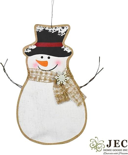 JEC Home Goods Snowman Door Decorations , Wall Hanging or Door Hanger ,  Large 18x11 Size , Christmas Door Decor , Burlap Long Lasting Design